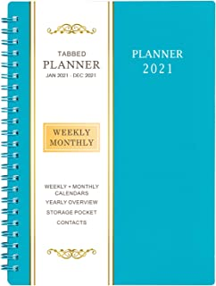 """2021 Planner - Weekly & Monthly Planner, 6.25"""" x 8.3"""", Flexible Cover,12 Monthly Tabs, 21 Notes Pages, Twin-Wire Binding w..."""