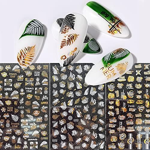 PMSMT Adhesivo holográfico para uñas 3D Dorado, Blanco y Negro, Hojas de Primavera y Verano, calcomanías geométricas de Playa Tropical, manicura Deslizante DIY