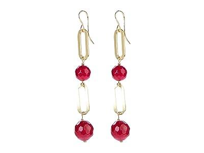Dee Berkley Ball and Chain Double Link Earrings Ruby Agate