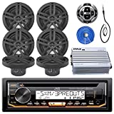 JVC Marine Stereo Receiver Bundle Kit with Remote Control, 6 Enrock 6.5' Marine Speakers, Pyle 4 Ch 400w Waterproof Amplifier, Enrock Wire Antenna, Enrock 50 ft Speaker Wire (Black)
