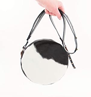 Round Purse in Black and White Cowhide Leather