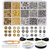 EuTengHao 607Pcs Spacer Beads 15 Style Metal Jewelry Bead Charm Spacers Kit for Jewelry Making Bracelets...