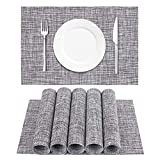 DACHUI Placemats, Crossweave Woven Vinyl Non-Slip Insulation Placemat Washable Table Mats Set of 6 (Light Grey)