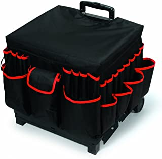 Darice 1210-27 Rolling Craft Cart - Fabric Cover - Aluminum Handle, Large, Black