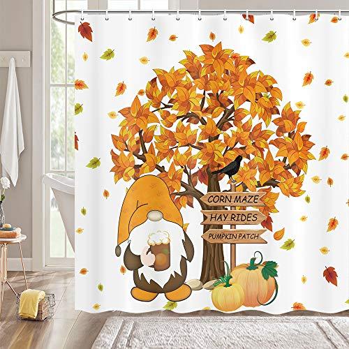 MERCHR Herbst Thanksgiving Duschvorhang-Set, Bauernhof-Kürbis-süßer Zwerg mit Krähe Bauernhaus-Duschvorhang, Herbstbaum-Ahornblätter Fall Badezimmer Dekor mit Haken, 170 x 170 cm