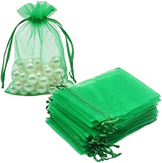 HRX Package 100pcs Organza Drawstring Bags Green, 4 x 6 inch Candy Mesh Gift Bags Jewelry Pouches Small Christmas Sachet