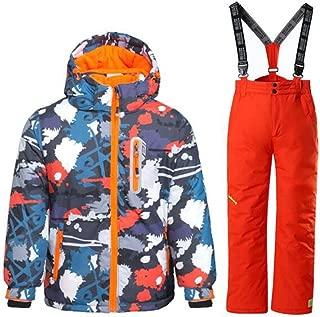 WOWULOVELY Boy's Ski Jacket Pants Windproof Snow Suit Waterproof 2-Piece Snowsuit