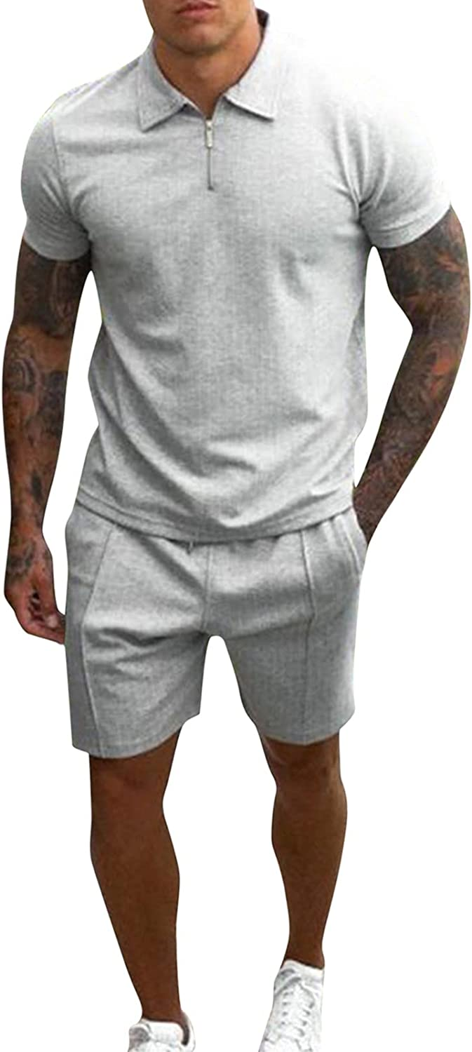 DZQUY Men Casual Tracksuits 2021 Mens 2 Piece Outfit Short Sleeve Hister Shirts and Sports Shorts Work Muscle Sweatsuit