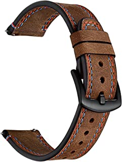 KARTICE Compatible with Samsung Gear S3 Classic/Frontier Watch Bands, 22mm Vintage Crazy Horse Genuine Leather Strap Double Stitching Band (Brown)