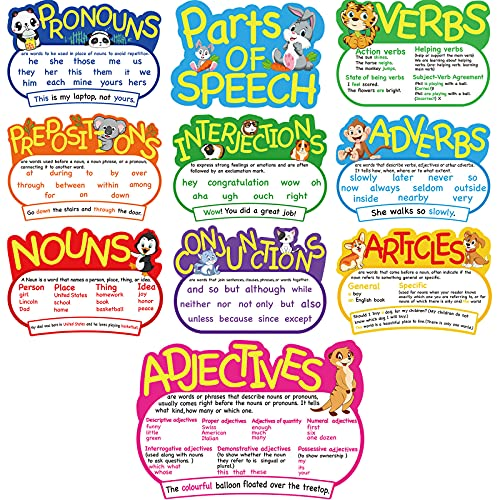 10 Pieces Parts of Speech Poster Grammar Poster Educational Grammar Cutouts Bulletin Board Set for Student Classroom School, 16.5 x 11.5 Inches
