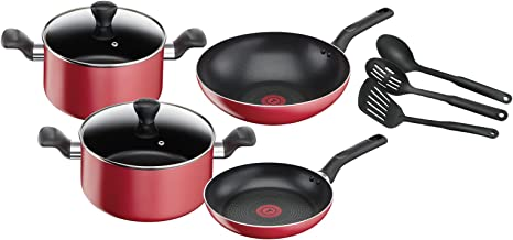 TEFAL Super Cook 9 Pcs Cooking Set, Non Stick with Thermo-spot, Red, Aluminium, B243S985