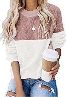Women's Fuzzy Sweatshirt Fleece Casual Long Sleeve Color Block Pullover Tops E-Scenery