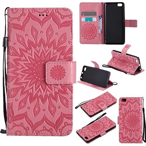 Teléfonos móviles Carcasa Funda Para, Diseño de la impresión de la flor del sol Caja de cuero de la PU de la PU de la tapa del tirón del acollador con la ranura para tarjeta / soporte para Xia