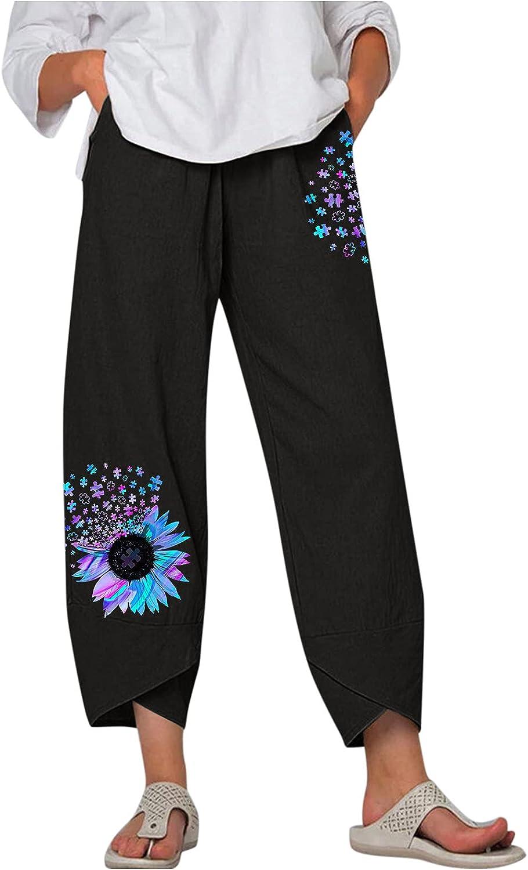 Kcocoo High Waist Casual Pants Summer Loose Long Straight Pants for Womens Boho Comfy Wide Leg Sunflower Ladies Pantalones