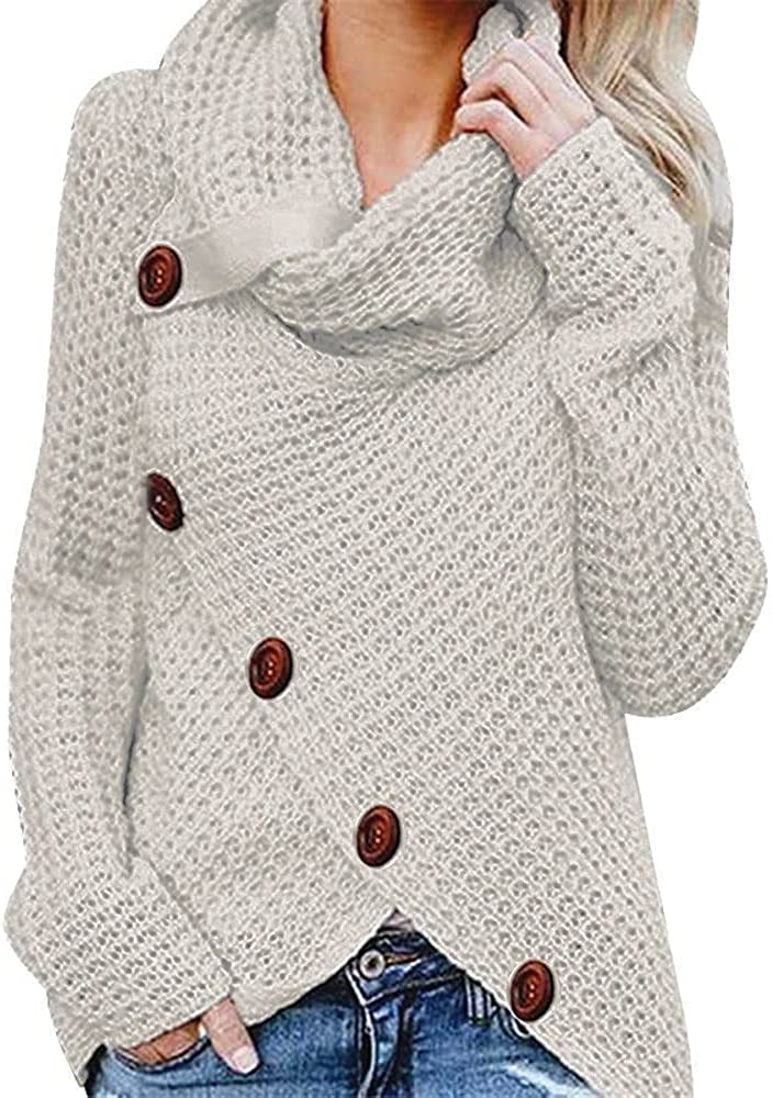 Sweaters for Women,Women's Sweaters Casual Long Sleeve Turtleneck Button Patchwork Pullover Knit Sweater Tops