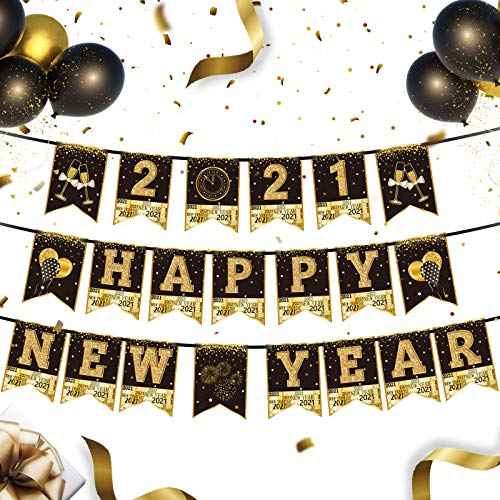 2021 Happy New Year Party Ammer Banner Schwarz Gold Silvester Party Wimpel Banner Hängende Girlande Zeichen für Silvester Weihnachten Party Dekoration