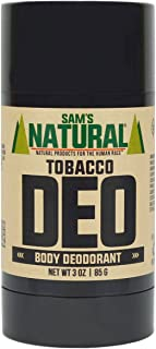 Sam's Natural Deodorant Stick - Tobacco, Aluminum Free, Vegan, Cruelty Free, 3 oz