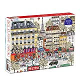 """Galison Michael Storrings Paris Puzzle, 1,000 Pieces, 20""""x27"""" – Fun and Challenging – Piece Together a Charming Paris Scene Complete with the Metro, Cafes, Shops, and the Iconic Eiffel Tower"""