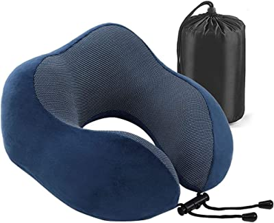 Travel Pillow - Memory Foam Neck Pillow with 360 Head & Neck Support Comfortable for Long Flight, Airplane, Train, Reading, Working, Ergonomically (Blue)