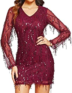 ❤️❤️ Ladies Sling Cross Sequin V Neck Elegant Party Evening Slim Hollow Lace Dress Fashion Women Long Party Skirts 2019 ❤️❤️ AMhomely Clearance sale