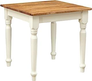 Biscottini Table carrée en Bois Massif de Tilleul – Style Country – Style Shabby – Structure Blanche vieillie Plan Naturel...