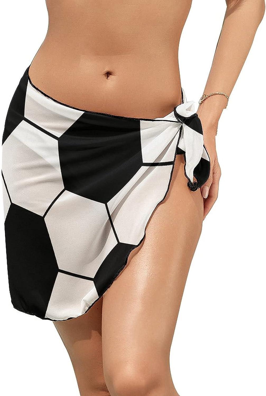 Women's Bikini Swimsuit Cover Up Soccer Ball Pattern Summer Beach Wrap Skirt Pareo Sarong