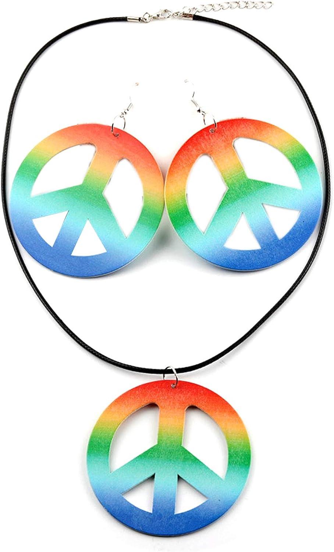 tenghong2021 Peace Sign Pedant Necklace Dangle Earrings Set Wooden Leopard Peace Sign Necklace Drop Earrings Hippie Party Necklace Earrings Set Hippie Boho Costume Accessories Set for Women Men