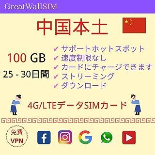 中国 本土 大陸25-30日間 高速4G/LTEデータSIMカード (100GB 25日間)