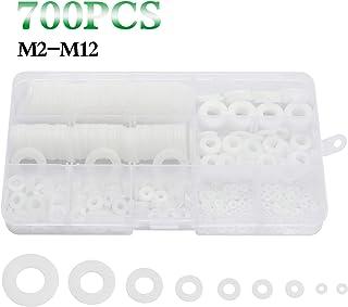 URLWALL 700PCS White Nylon Plastic Washer Assortment Kit Flat Washer, M2, M2.5, M3, M4, M5, M6, M8, M10, M12 Metric Sealing Washers