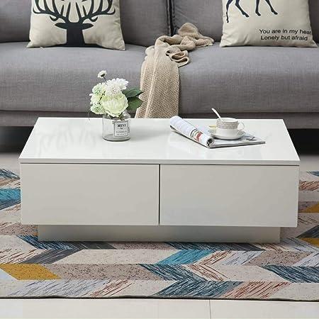 Gototo Tavolino Da Salotto Moderno Tavolino Da Caffe Con 4 Cassettiera In Legno Bianco Lucido 95 X 60 X 31cm Amazon It Casa E Cucina