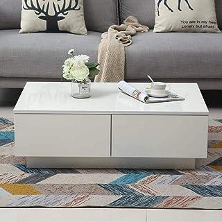 GOTOTO Table Basse de Salon avec 4 Tiroirs Table de Salon Moderne Blanche, Laquée Brillante, Table de Rangement Salon, 95 ...
