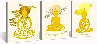 DJSYLIFE - Buddha Statue Wall Art Decor - Stop Being Selfish - Being Philosophical - 3 Pieces Canvas Print Minimalist Typographic Yoga Zen Room Dorm Poster Home Decoration 12x16Inchx3 Panel