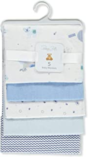 Rene Rofe Baby Big Boys' Puppy Play 5-Pack Receiving Blankets - Blue/White, one