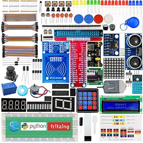 Adeept RFID Starter Kit for Raspberry Pi 4/3/2 Model B/B+, Stepper Motor, ADXL345, 40-pin GPIO Extension Board, with C and Python Code, Raspberry Pi Starter Beginner/Learning Kit with PDF