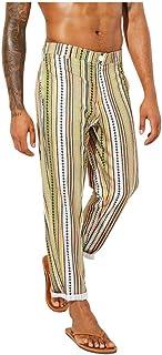 Xmiral Pantaloni Uomo Elegante Zip Elastica Vita Dritti con Cerniera a Righe Stile Casual Slim Moda Casual