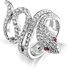 Spiral Wrap Serpent Snake Fashion Statement Ring For Women Red Eye Cubic Zirconia Pave CZ Silver Plated Brass