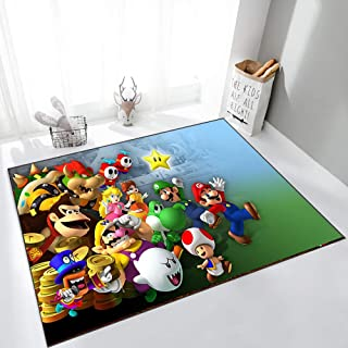 GOOCO Tapis Rectangulaire Super Mario Mario Tapis Chambre d'enfants Jeu Anime Antidérapant Cuisine Chambre Tapis Tapis De ...