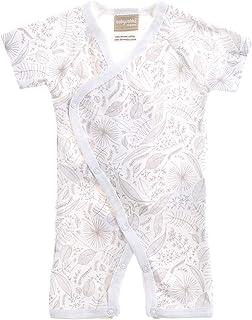 Babyushka Organic Essentials Short Sleeve Kimono Jumpsuit, Grey, 000