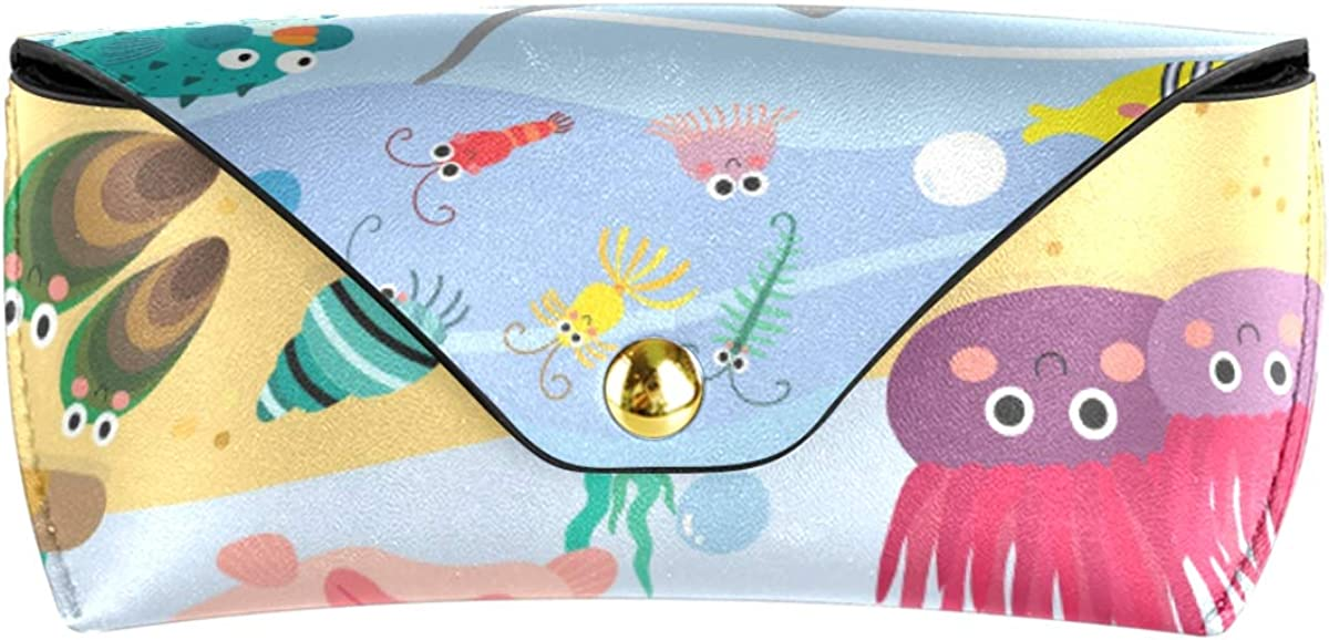 PU Leather Sunglasses Case Eyeglasses Pouch Portable Goggles Bag Office Multiuse Ocean Animals Cartoon Pattern Fish