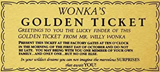 Jesiceny New Tin Sign Willy Wonka Golden Ticket Gold Sign Wall Art Charlie Chocolate Factory Aluminum Metal Sign Wall Decoration 8x12 INCH