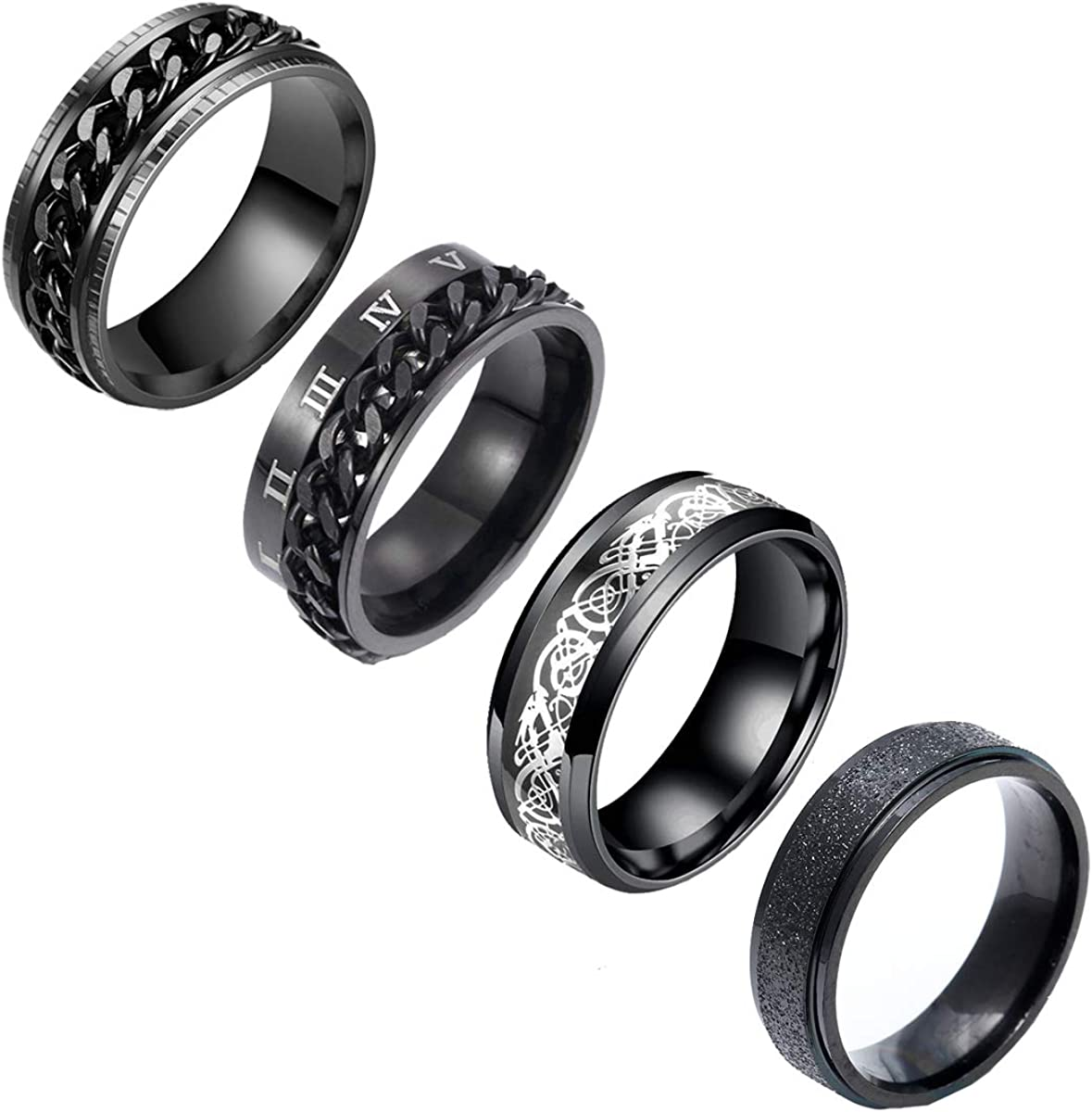 nylry 4Pcs Black Stainless Steel Fidget Spinner Rings Set for Men Women Roman Numeral Ring Matte Chain Cool Relieving Anxiety Ring Wedding Promise Band Size 6-12