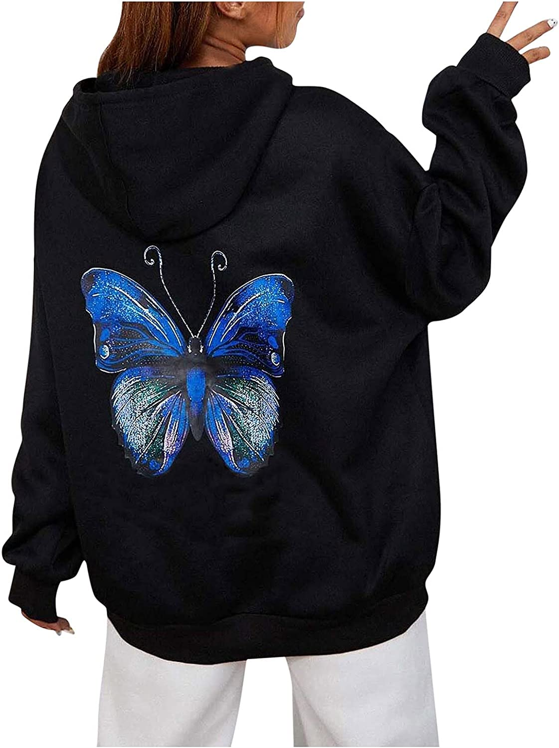 iCJJL Hooded Sweater for Women Pure Color Printing Casual Plus Size Hooded Sweater Fashion Long-Sleeved Pullover Sweatshirt