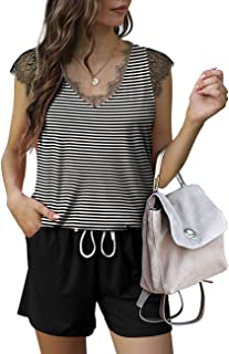 Aloodor Two Piece Outfits for Women Shorts Set with Pockets