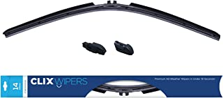 CLIX Wipers Click-on Wiper Blades - Starter Pack - Fits J-Hook, Pinch Tab, 16mm Top Button and 19mm Top Button wiper arms (21