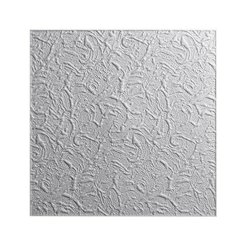 DECOSA Styropor Deckenplatten PARIS in Putz Optik - 16 Platten = 4 m2 - Edle Deckenpaneele weiß - Dekor Paneele 50 x 50 cm - Decken Styroporpaneele