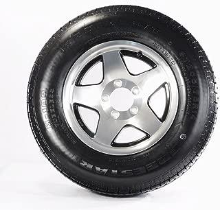 Trailer Tire On Rim ST205/75D14 F78-14 14 in. 5 Lug Wheel Aluminum 5-Star/Black