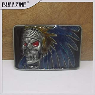 Buckes - The Wholesale Indian Skull Belt Buckle with Pewter Finish FP-03450 Suitable for 4cm Width Belt
