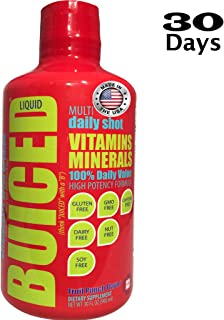 BUICED Liquid Daily Multivitamin 30 Day | Gluten Free | GMO Free | Allergen Free | Soy Free | BPA Free | Paleo Friendly Multivitamin | Vegan Friendly Multivitamin | 100% Daily Value | Made in The USA