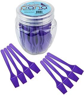 "Beauticom Pana Brand (PURPLE Color) (100pcs in a Container) Cosmetic Make Up Disposable Plastic 2.5"" Spatulas Skin Care Facial Cream Mask Spatula"
