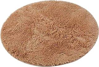 Round Area Rugs Super Soft Living Room Bedroom Home Shag Carpet (Khaki) 2582